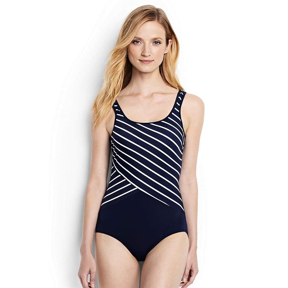 2480afed31d99 Get Quotations · Lands  End Women s DD-Cup Tugless One Piece Swimsuit Soft  Cup