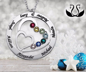 heart pendant birthstone necklace,my name necklace,yiwu hengbiao jewelry factory