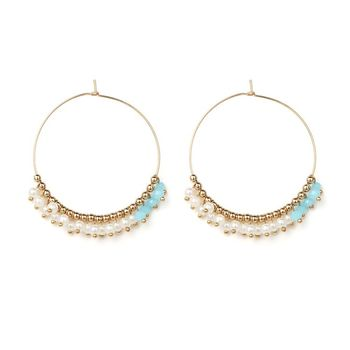 Simple Gold Large Circle Earring Designs Small Pearl And Resin Seed Bead Hoop Earrings For Women