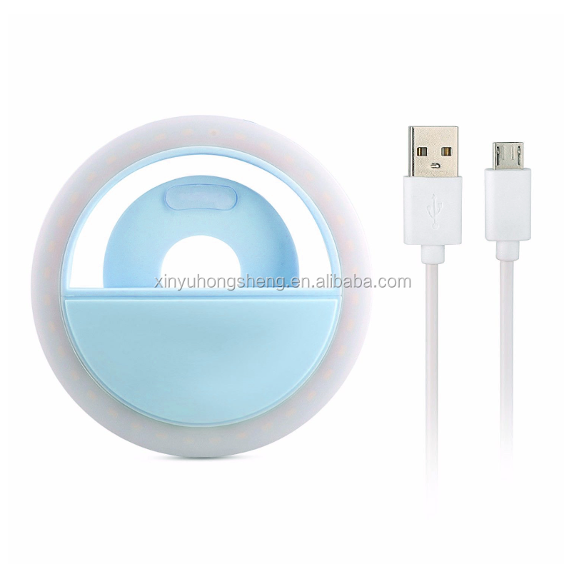 Cute Round Shape Rechargeable Universal Selfie Luminous Phone Ring Light Beauty Mobile Phone LED Flash Light Up with USB Chargi