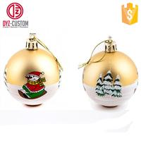 Custom Printed Hanging Christmas Ball Plastic ball christmas ornaments
