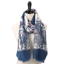 Fashion flower shawls big popular print scarves thin long summer head hijab beautiful women satin scarf
