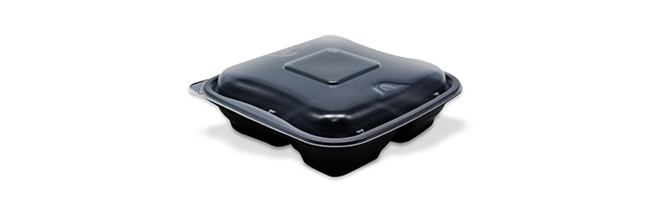 3 compartments disposable plastic food container