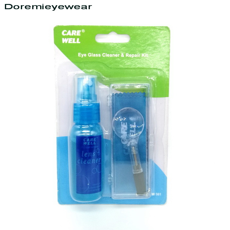Wholesale eyeglasses liquid spray lens cleaner kit with magnifier repair tool and lens cleaning cloth