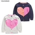 2015 New Design Baby Girls Knitted Wool Cardigan Sweater Brand Trench Girls Autumn Heart Pattern Sweater