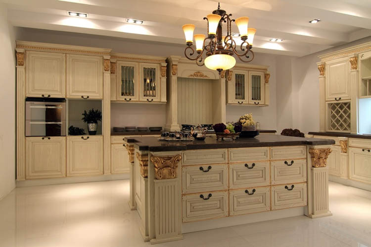 Classic Integrated Household Solid Wood Kitchen Cabinet,Round ...