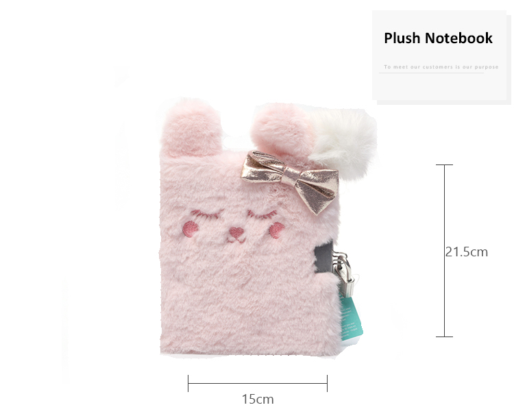 Promotional gift custom hardcover cute animal pink furry plush cover notebook diary book with lock for girls