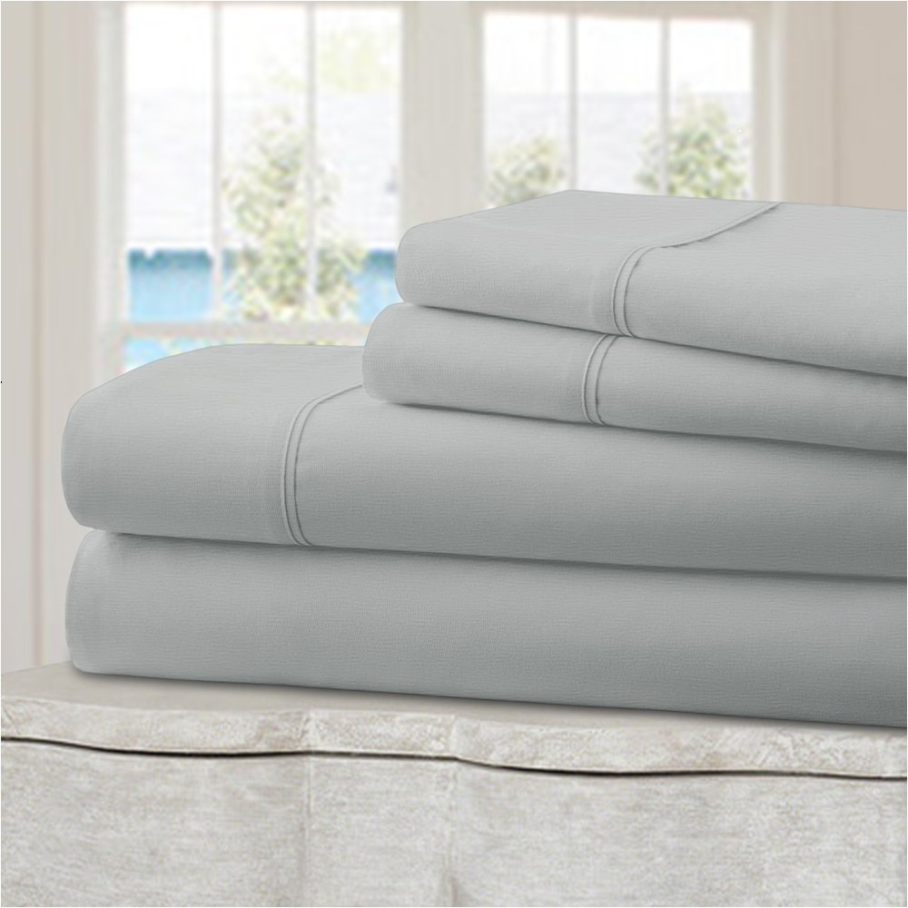 Mellanni 100% Cotton Bed Sheet Set - 300 Thread Count Sateen Weave - Natural, Soft, Deep Pocket Quality Luxury Bedding - 4 Piece (King, Light Gray)