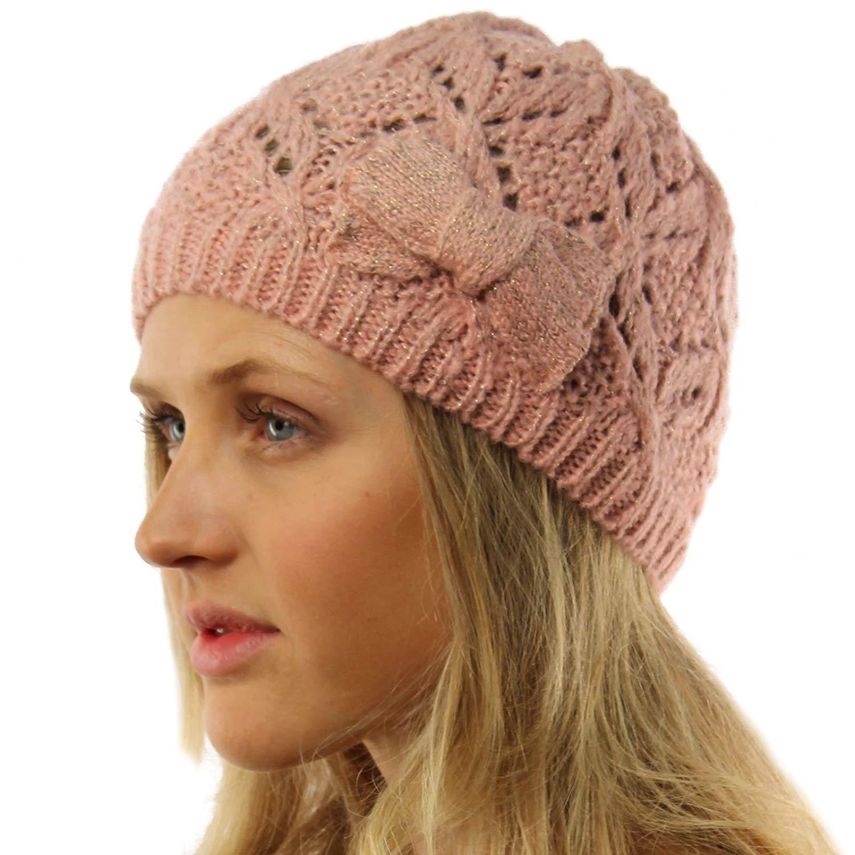 SK Hat shop Ladies Girls Teens Winter Shimmer Ribbon Bow Knit Beanie Skull Hat Cap Ski
