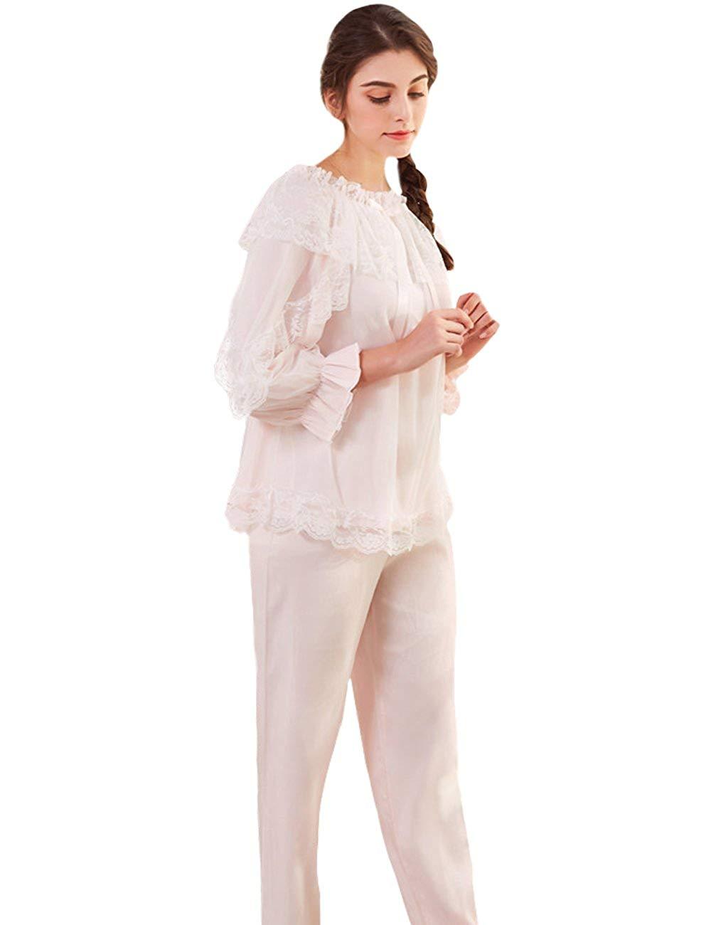 ... Full Length Nightdress 37.99. Aikosha Womens Victorian Style Long Flare  Sleeve Off Shoulder Lace Cotton Pajama Set d9a1fabc3