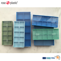 Plastic transparent or colored carbide inserts packaging box with quick press closure of lid Insert Box IB