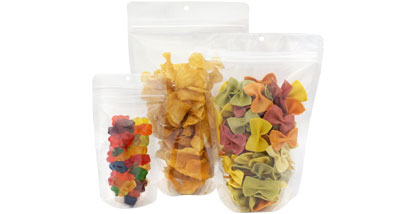 reusalable zipper crystal clear snack pack stand up pouches
