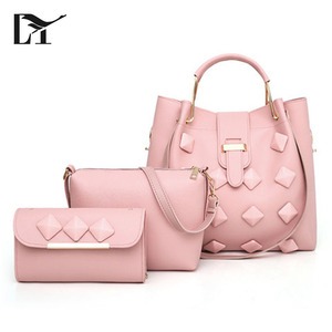 Lingyue BS1002 Latest Design 3 pcs In One Set Pink PU Ladies Wallet Ladies Pars Hand Set Bag For Women