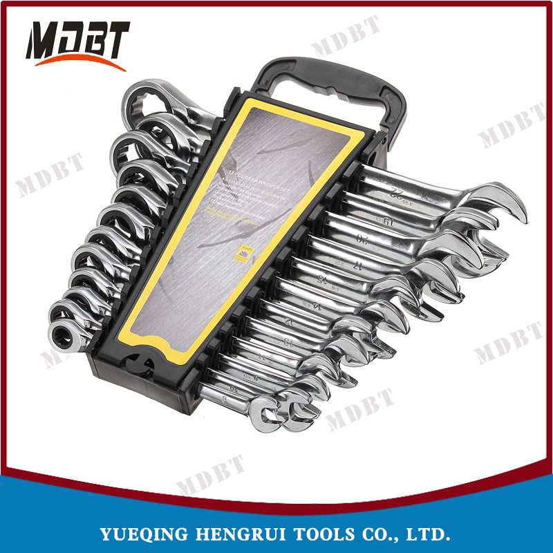 12PCS 6-22mm Gear Combination Wrench Spanner Set of Open End Torque Combination Wrench Set Ratchet Wrench