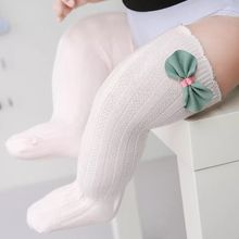 Bonypony Boy Girl Child Tube White Socks Cute Lace Bows Princess leg Warmers Solid Cotton Baby Girls Knee High Socks