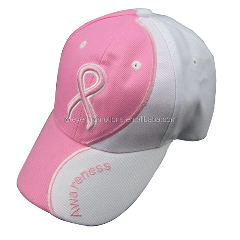 2018 New Breast Cancer Awareness Customized 6 Panels Acrylic 3D Embroidered  Pink Ribbon Baseball Cap With