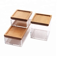 Sophisticated design small plexiglass box clear acrylic boxes set with wood lids