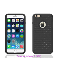 Newest design high quality bumper cheap shockproof diamond pc silicon light for iphone case