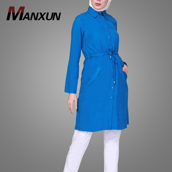 Muslim Women Gender Button Down Blue Rayon Tunic T-Shirt Long Sleeve Elegant Tops Islamic Clothing