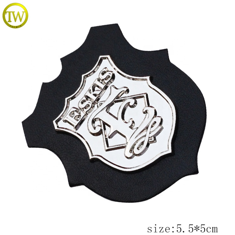 Custom jacket leather label embossed black logo leather patch tags for clothes