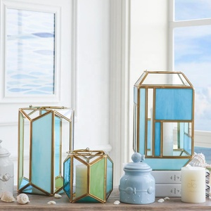 Bixuan Candle Lanterns Tiffany Stained Church Glass Brass Frame Hanging Hurricane Tea Light Holder Lamp (5.9'' H x 5.7'' D)