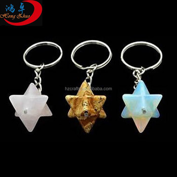 Best price merkaba semi-precious stone keychains for promotional gift