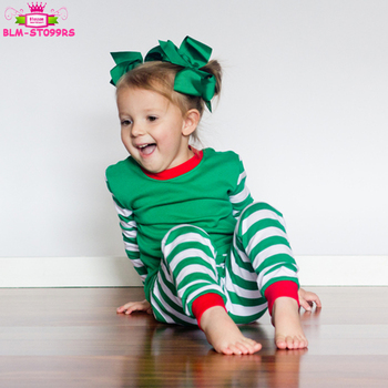 99a363d3 Personalized Monogrammed Xmas Pajamas Blank Baby Girls Sleepwear Set White  & Green Striped Children Christmas Pajamas