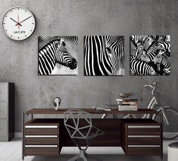 3 panel wall art decorative paintings black and white zebra decor pictures indoor adornment room decor