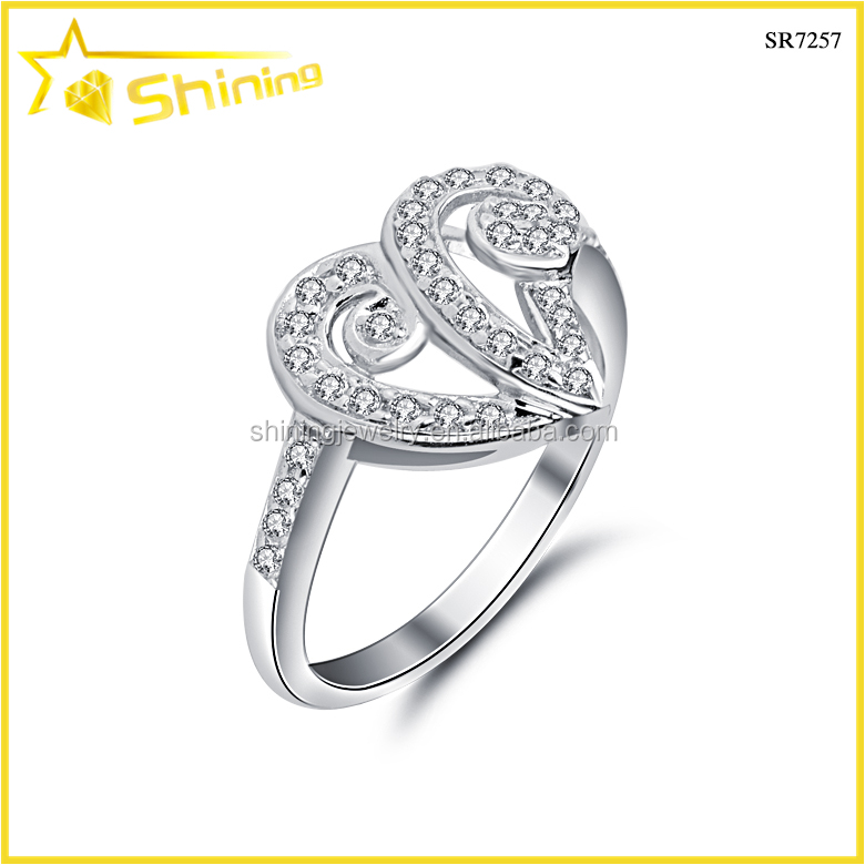 best seller white gold plating zircon setting size 7 fashion gold initial rings