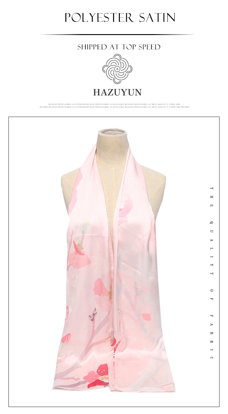 New Fashion Custom Long Printed Polyester Scarf Women Satin Scarf Hijab