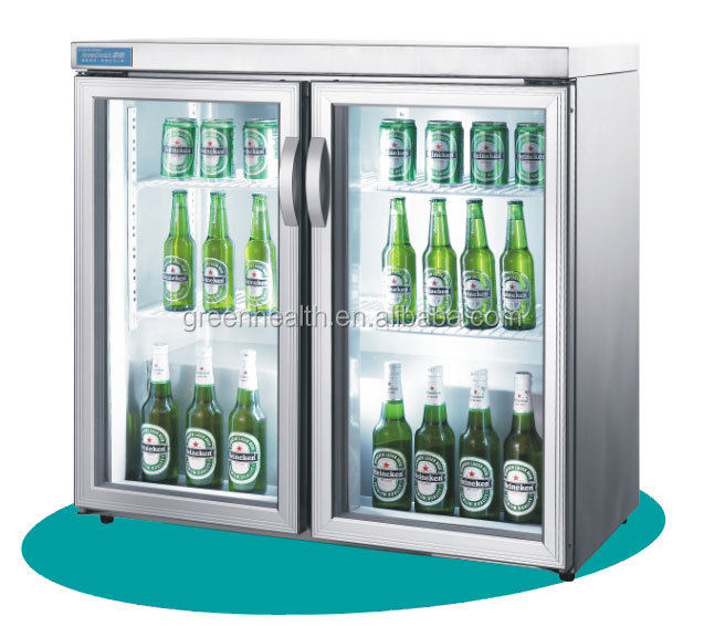 Mini Bar Cooler With Double Doors Used 200L Stainless Steel Mini Bar  Refrigerator Glass Door Cooler