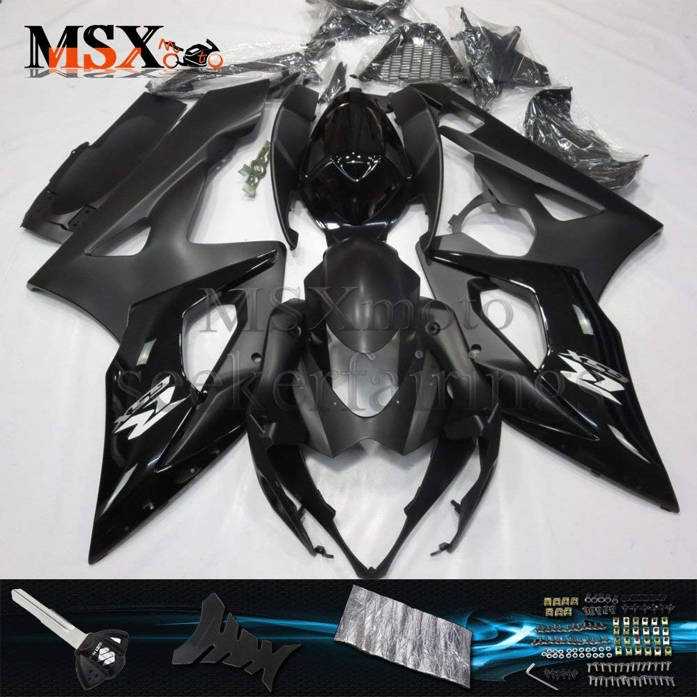 MSXmoto Fairing Kit Fit for Suzuki GSXR1000 K5 05 06 GSXR 1000 2005 2006 Motorcycle Fairing Kit Plastic ABS plastic Injection Molding Kit Complete Motorcycle Fairing Bodywork Painted(Black)