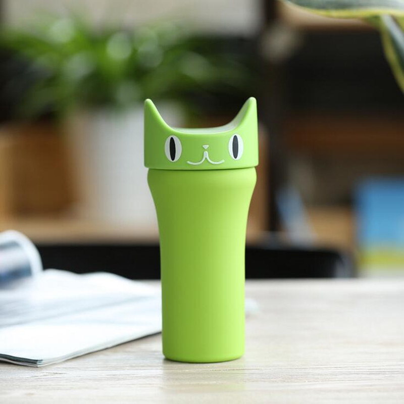 Portable cartoon kitten cat double walled stainless steel vacuum sport travel drinking water bottle mug cup
