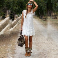 wholesale casual loose style boho dress women cap sleeve white lace bohemian dress
