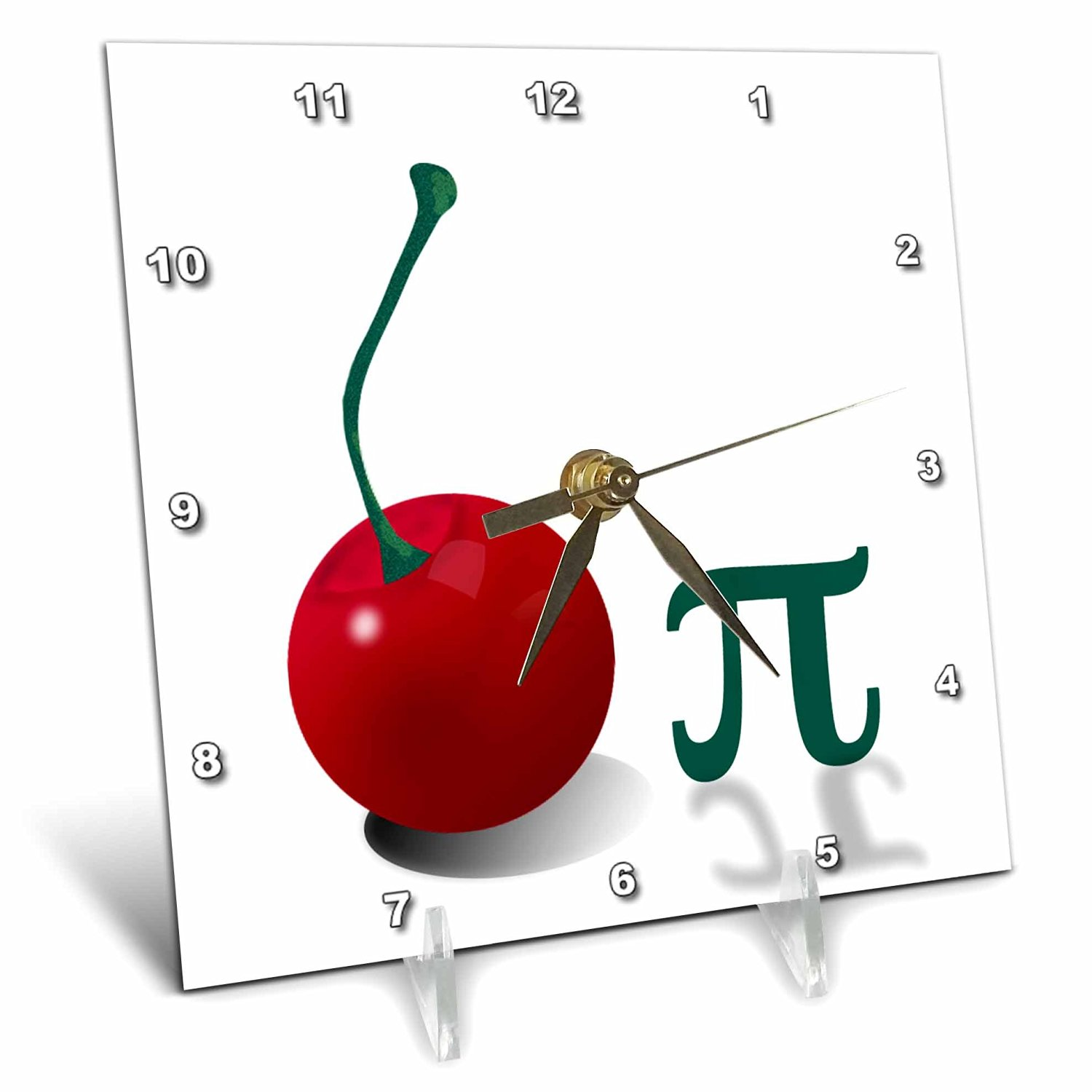 3dRose cherry Pi. Large Red cherry and The Pi Symbol. Mathematicians Dream. - Desk Clock, 6 by 6-Inch (dc_45202_1)