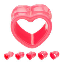 Hollow pink acrylic tunnel ear plug piercing Jewelry heart shaped tunnel plugs
