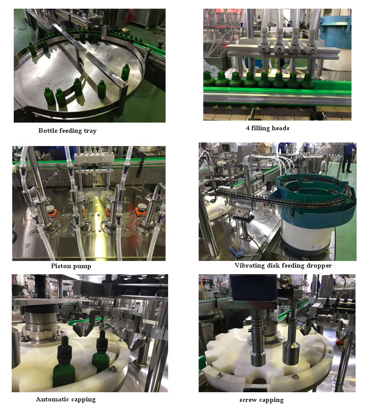 Automatic natural, massage  essential oil ,dropper bottle filling for cbd oil and capping equipment