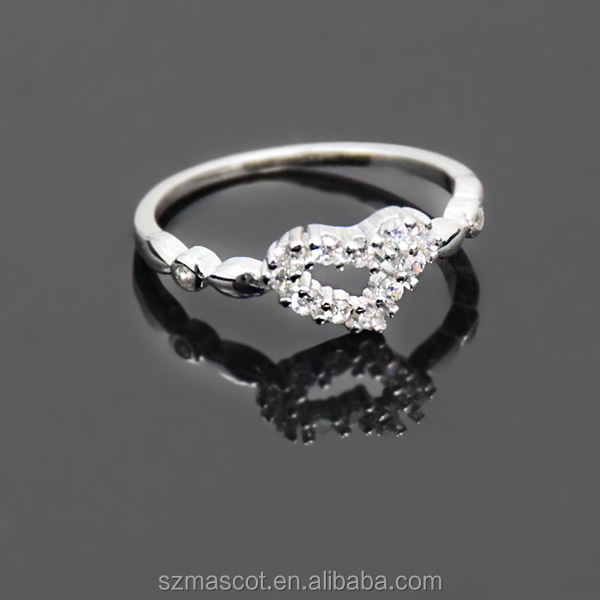 hot sale cheap lucky stone silver wedding heartbeat ring