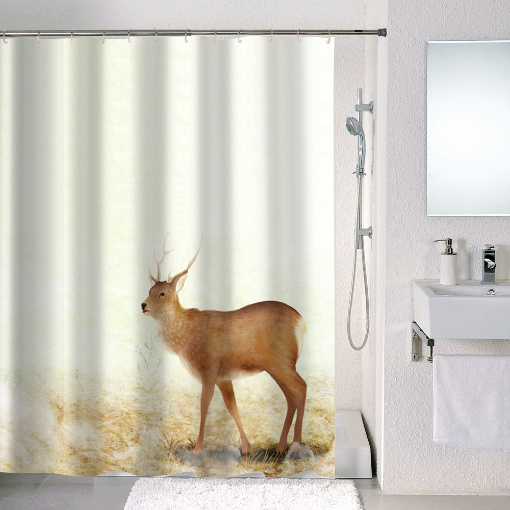 Baño impermeable encargo animal al por mayor impresa cortinas de ducha