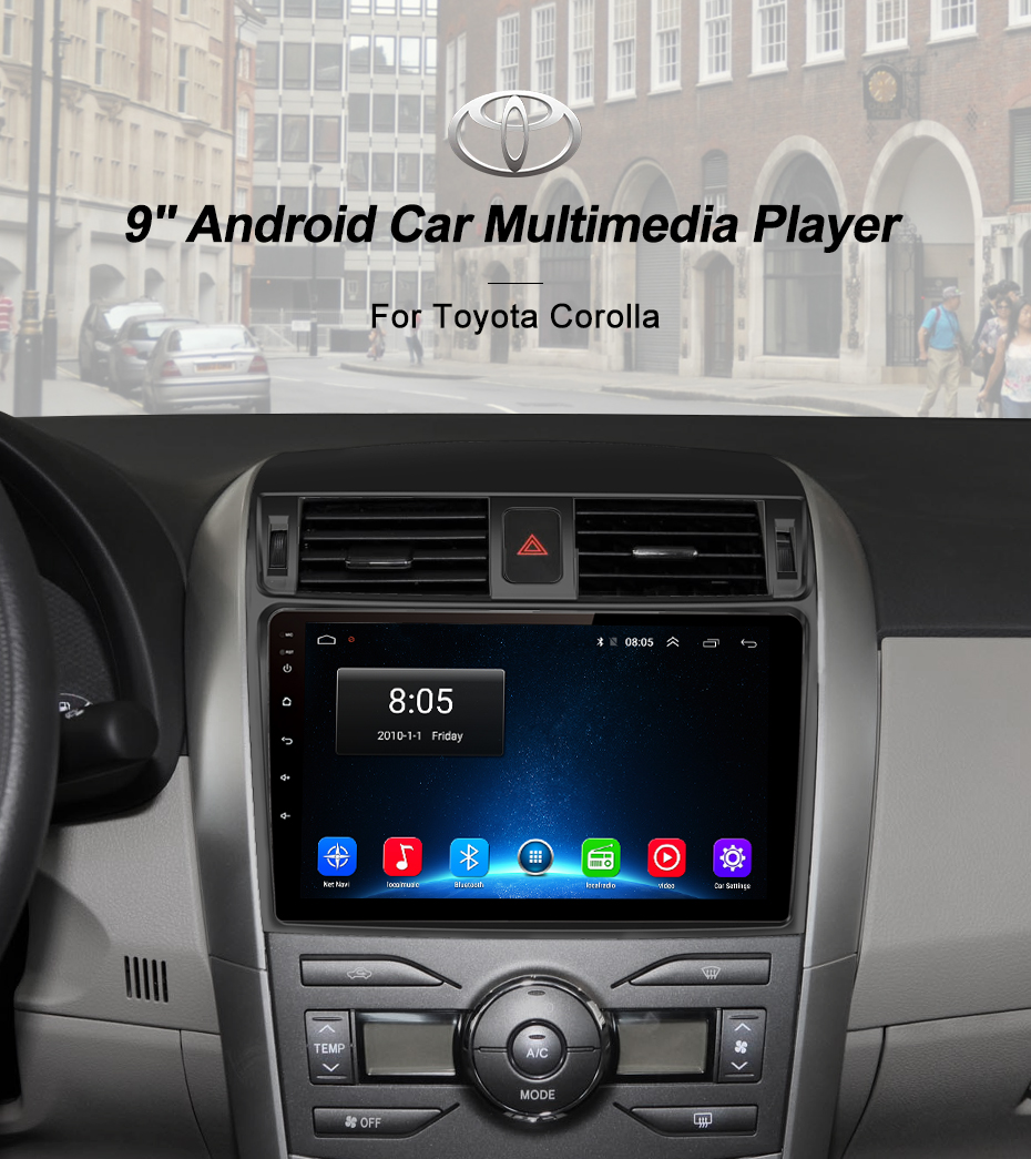 Junsun 2 din 1G + 16G Autoradio Multimedia Video Player wifi LASCIATE CHE di Navigazione GPS Android 8.1 Per toyota Corolla NO auto dvd audio