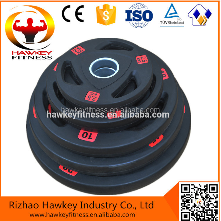 weight lifting plate with 3 holes /3 holes rubber coated plate