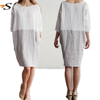473a5833397ac5 Loose fitted linen dress pure linen tunic dress Washed linen clothing for  women