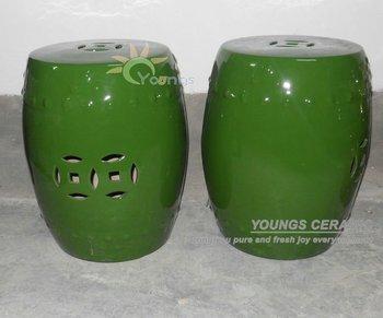 Antique Chinese Ceramic Porcelain Garden Drum Green Stools