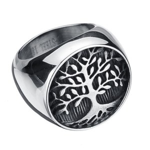 Wholesale beautiful stainless steel ring,silver tree of life design jewelry ring for men female