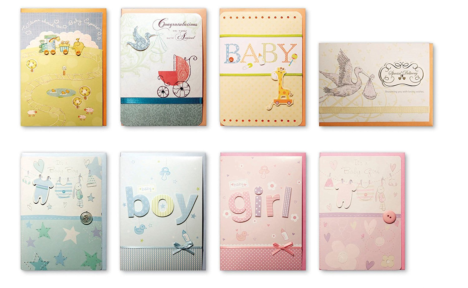 assorted congratulations wishes for baby cards box set 8 pack handmade embellished assortment greeting cards for