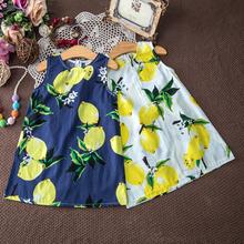 Crianças Vestidos para Meninas Crianças Vestido Da Menina de Verão Crianças Roupas ropa de ninas Limão Impressão Amarelo Vestido de Verão Meninas Vestidos de Algodão