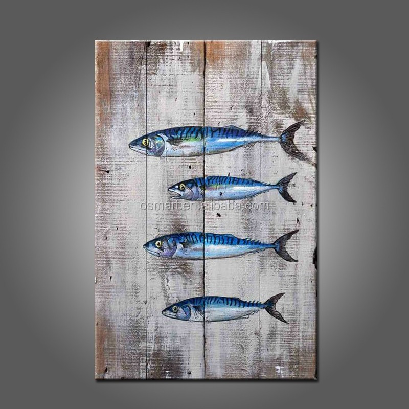 Skills Artist Hand-painted Unique Wall Decorative Fish Canvas Painting Hand-painted Fish Oil Painting For Kitchen Decoration