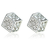 Silver Gold Plated Square Crystal Earring Studs jewelry