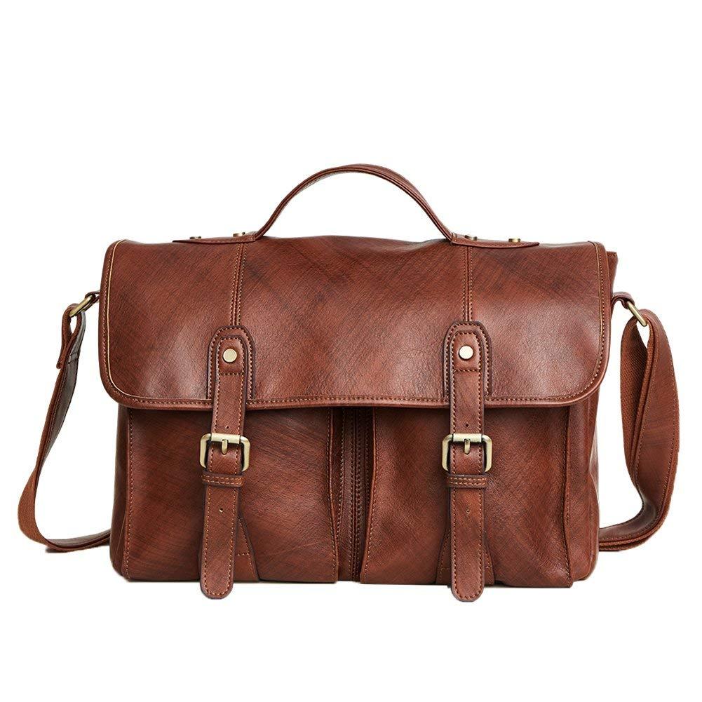 6bb70e5e1c Get Quotations · Genda 2Archer Mens Vintage Leather Large Briefcase Tote  Bags Fit 14