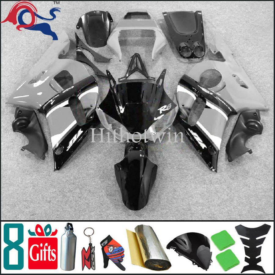 YZFR6 black Fairing 1998 1999 2000 2001 2002 YZF-R6 Fit For yamaha YZF R6 1998 2002 1999 2001